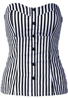 Black / White Vertical Stripe Strapless Bandeau - pair this with a black pencil skirt and heels or cute shorts and wedge shoes. Its rare that I find something girly that I like Pretty Outfits, Cool Outfits, Casual Outfits, Women's Dresses, Badass Style, My Style, Rockabilly Outfits, Shops, To My Daughter