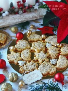 Diós gurábli Poppy Cake, Christmas Cookies, A Food, Cake Recipes, Cereal, Biscuits, Merry, Place Card Holders, Sweets