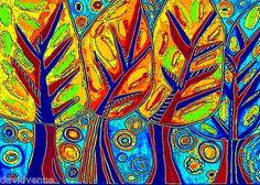 Sandra Silberzweig Neon Trees Yellow Blue Flowers 8 x 10 Canvas Print | eBay