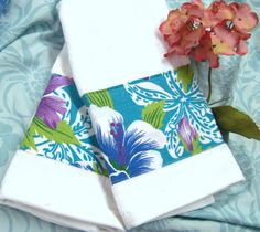 /2 WHITE HAND TOWELS with BOLD Turquoise and Teal Florals and Leaves #HandMade