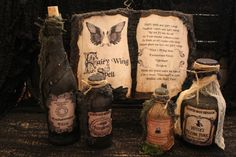 Halloween Spell Book & Potion Bottle Set by HauntedMoonEmporium