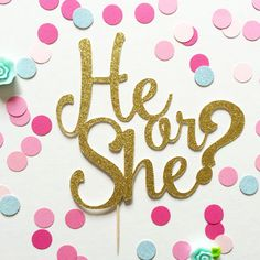 He or She Cake Topper - Gender Reveal Cake Topper (customize to any colour for your party/baby shower)