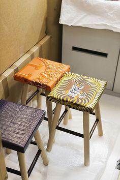 Hermes petit h stools | silk scarves re-purposed / up-cycled
