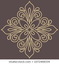 Oriental vector pattern with golden arabesques and floral elements. Vintage pattern with arabesques Stencil Patterns, Stencil Designs, Pattern Art, Vector Pattern, Free Pattern, Machine Quilting Patterns, Quilting Designs, Embroidery Patterns, Alpona Design