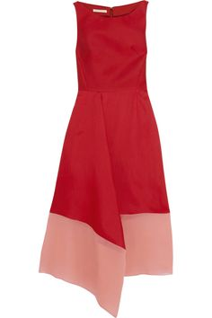 i like this color combination.  without the asymmetrical hem, i like the shape as well.  hate satin, though...