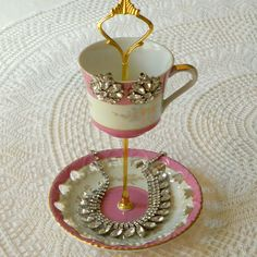 Alice Sings Brightly, Rapberry Pink 2 Tier Vintage China Jewelry Stand, Business Card Holder or Mini Tea Tray -- FREE US SHIPPING. $55.00, via Etsy.