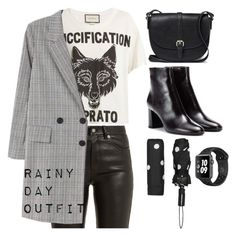 """Rainy Day Outfit: Black"" by janellexbzn on Polyvore featuring Gucci, Yves Saint Laurent, MANGO, John Lewis, Kate Spade and rainydayoutfit"