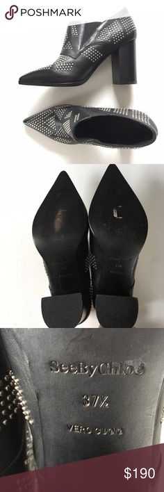 """See by Chloe Studded Ankle Bootie - NEW! Fabulous bootie by """"See by Chloe"""" -- I think this is the """"Carnaby"""" style, but I've also seen it called the """"Sharon"""" - in gorgeous black leather with gleaming silver studs.  Never worn!  Please see photos for condition of soles and heels, due only to storage.  No box or dust bag. See By Chloe Shoes Ankle Boots & Booties"""