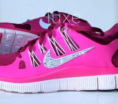 NIKE run free 5.0 running shoes w/Swarovski Crystals detail - Pink on Etsy, $178.95