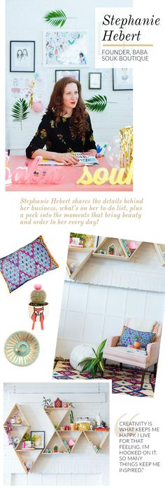 Shop Talk With Baba Souk Founder, Stephanie Hebert Mini Tour, Colorful Throw Pillows, Fancy Houses, Book And Magazine, Home Decor Styles, Beautiful Interiors, Cool Websites, Shelving, I Am Awesome
