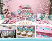 BIRD and Butterfly Birthday Printable Set - Bird Birthday Invitation, Cupcake Toppers, Favor Tags, Candy Wrappers, Bunting and more