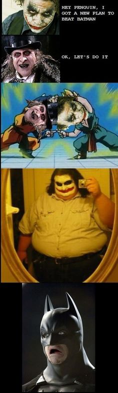 Joker + Penguin DBZ style  This made me laugh and that would probably make my husband proud