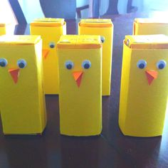 """""""chick"""" juice boxes for kid's Easter party :) Wrap yellow juice boxes w/ yellow construction paper (remove straws first) & glue on some googly eyes & a beak made from orange construction paper."""