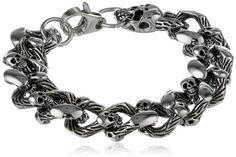 Stainless Steel Skull Curb Bracelet