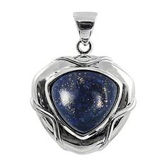 Sterling Silver Pendant with Free Shape Lapis Lazuli Stone... ($58) ❤ liked on Polyvore featuring jewelry, pendants, sterling silver jewelry, sterling silver stone jewelry, stone pendants, stone jewelry and lapis lazuli jewelry