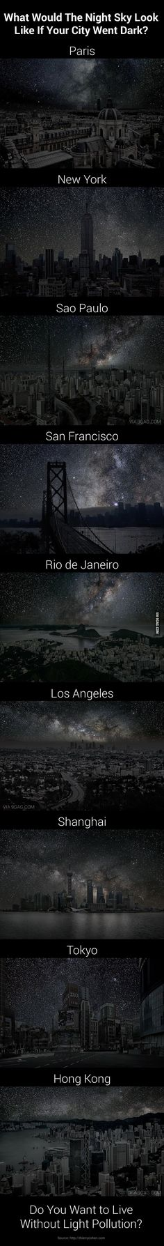 9 Amazing Night Sky of 9 Darkened Cities by thierrycohen via 9gag #Night_Sky #Light_Pollution