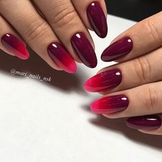 Beautiful elegant delicate simple light and dark red ombre nails Red Ombre Nails, Gradient Nails, Dark Nails, Fun Nails, Pretty Nails, Dark Color Nails, French Nails, French Manicure Ombre, French Manicures