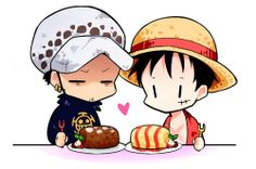 Chibi Trafalgar D. Water Law and Monkey D. Luffy One Piece
