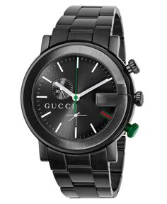 Gucci Watch, Men's G Chrono Collection Black Stainless Steel Bracelet