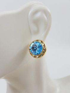 Vintage Button Earrings Aquamarine Blue Stones Rhinestones Gold Tone Round Stud Pierced Ears Costume Jewelry