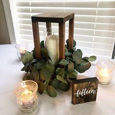 Rustic Lantern Centerpieces, Wooden Lanterns, Lanterns Decor, Candle Lanterns, Wooden Wedding Centerpieces, Centrepieces, Country Barn Weddings, Wedding Table, Wedding Ideas
