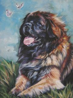 Leonberger art print CANVAS print of a LA Shepard by TheDogLover