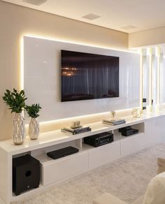 Decor Home Living Room, Home And Living, Floating Entertainment Unit, Modern Tv Room, Tv Unit Interior Design, Living Room Tv Unit Designs, Home Room Design, Living Room Inspiration, House Rooms