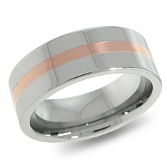 8mm Flat Tungsten Carbide Wedding Band with 18K Rose Gold Inlay