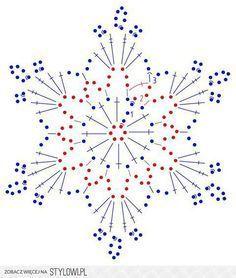 Crochet for Christmas – – Christmas - Knitting Charts Crochet Snowflake Pattern, Crochet Stars, Crochet Motifs, Crochet Snowflakes, Crochet Diagram, Thread Crochet, Crochet Crafts, Crochet Doilies, Crochet Flowers