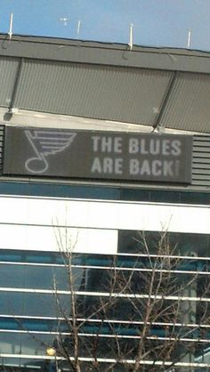 Sign at the Scottrade Center this morning! Hockey is back! Let's Go Blues!!!!!!!!!!!!!!!!!!