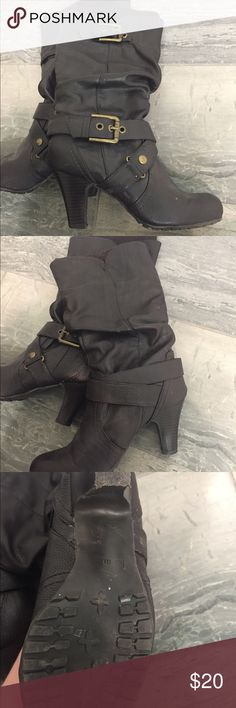 Guess boots in chocolate brown. Size 6. Fun Guess boots in chocolate brown, size 6. Have a flannel material inside and cute knit around the top. Come to mid calf. Barely worn. Guess Shoes