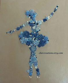 BALLERNIA DANCER 8x10 Button Art Button Artwork by CherCreations