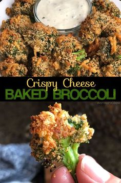 Looking for easy and healthy side dish ideas? The entire family will love this crispy baked broccoli! Even the kids. It's also a fabulous snack or appetizer idea served with ranch dressing. #broccoli #sidedish #instrupix