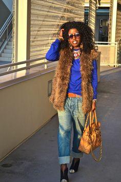 Style Pantry | Faux Fur Vest + Mens Sweater + Mens Jeans
