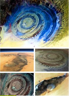 """""""eye of the sahara""""  Mauritania, Africa     Officially known by the rather prosaic name of the Richat Structure, this mysterious structure came to the attention of early space missions because of its out-of-place appearance in the middle of the Sahara desert.    A giant circular depression 30 miles across, it was originally thought to have been caused by a meteorite strike but may in fact be a geological formation exposed by erosion."""