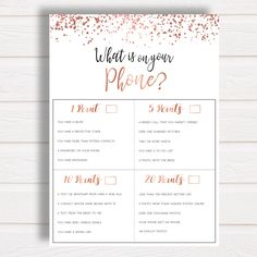Printable Bridal Shower Game What's on your Phone Rose Gold