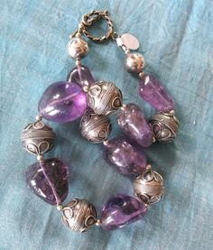 Natural Amethysts and spectacular sterling silver Necklace