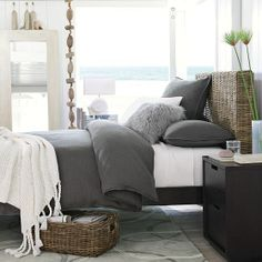 the look I am going for...dark gray duvet with white throw