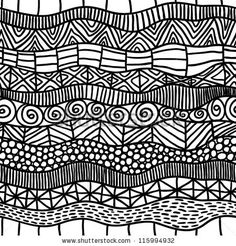 abstract black and white ethnic seamless pattern - stock vector From: Shutterstock ____________________ For hooked rugs, here the black lines could be any color, and form a coherent visual grid against which to lay a color or color pallet.