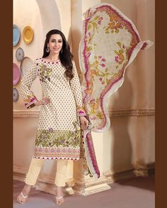 Cream pant style suit with floral printed dupatta   1. Cream lawn cotton suit2. Comes with matching bottom and dupatta3. Can be stitched upto bust size 42 inches