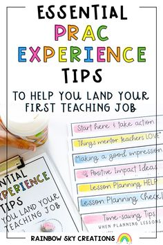 A free guide to help you navigate the many hats of a preservice teacher. Inside you will find helpful strategies to not only leave a good impression on your mentor teacher but help you land your first teaching job. Teaching Time, Teaching Jobs, Rainbow Sky, Becoming A Teacher, Australian Curriculum, Take Action, Teacher Hacks, Saving Tips, How To Become