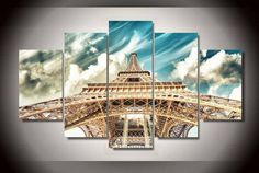 5 Pieces Multi Panel Modern Home Decor Framed Eiffel Tower Wall Canvas Art