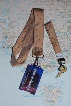 Upcycle neck tie heaven, this one a lanyard and key fob / ring. YSL no less.