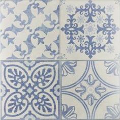 An eclectic design of delft blue and off white patterns, a clever mix of organic vintage patterns alongside timeless geometric patterns. Bathroom floor and wall tiles Skyros Delft Blue Wall and Floor Tile. Bathroom Floor Tiles, Wall And Floor Tiles, Wall Tiles, Kitchen Tiles, Kitchen Reno, Bathroom Fixtures, Kitchen Island, Delft Tiles, Blue Tiles