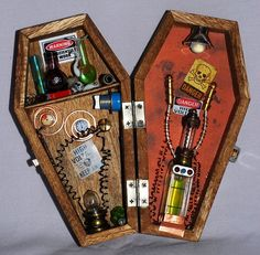 Miniature coffin Mad Scientist shadow box by ButterflyNature, $44.00