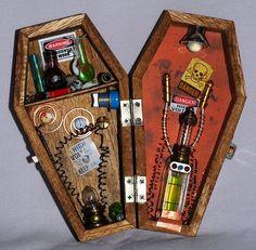 Miniature coffin Mad Scientist shadow box dollhouse Gothic Frankenstein Halloween