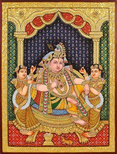 Krishna with Satyabhama and Rukmani Offering Him Sweets