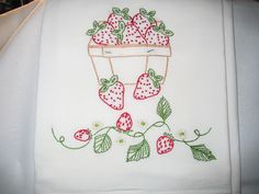 Hand embroidered flour sack dish towel - Strawberries.