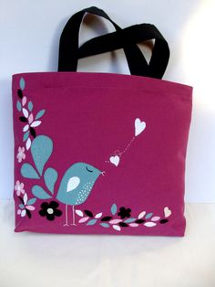 Summer bags Canvas dark pink tote bagappliqued with a little blue by Apopsis
