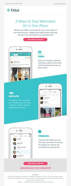 New Fitbit Community tab has officially launched! - Really Good Emails Edm Template, Email Template Design, Email Newsletter Design, Email Newsletters, Email Templates, Newsletter Ideas, Website Template, App Marketing, Email Marketing Design